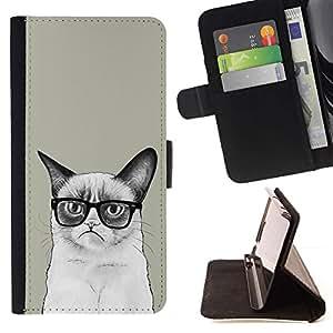 Momo Phone Case / Flip Funda de Cuero Case Cover - Gato siamés Dibujo enojado Gafas Arte Hipster - HTC DESIRE 816