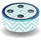 MightySkins Skin For Amazon Echo Dot (2nd Gen) - Aqua Chevron | Protective, Durable, and Unique Vinyl Decal wrap cover | Easy To Apply, Remove, and Change Styles | Made in the USA