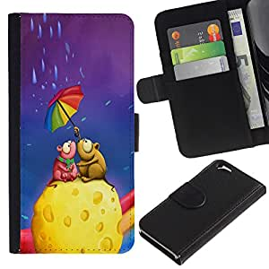 Ihec-Tech / Flip PU Cuero Cover Case para Apple Iphone 6 4.7 - Cute Mouse Couple Cheese