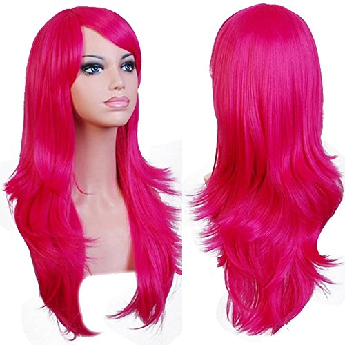 Anogol Hair Cap+ Long Cosplay Wig Pink Wavy Party Wigs ()