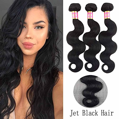 SHOWJARLLY #1 Jet Black Body Wave Bundles Grade 8A Brazilian Body Wave 3 Bundles 10+12+14 Unprocessed Virgin Brazilian Hair Weave 3 Bundles 100g/Pc