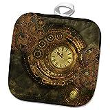 3dRose Heike Köhnen Design Steampunk - Wonderful Clockwork, Steampunk Design, Golden Colors - 8x8 Potholder (PHL_293087_1)