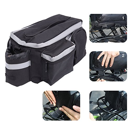 PanelTech Bicycle Cycling Sport Rear Rack Seat Trunk Bag Bike Mountain Handbag Storage Expanding Carry Strap Portable Shoulder Saddle Bag with Water Holder by PanelTech (Image #7)