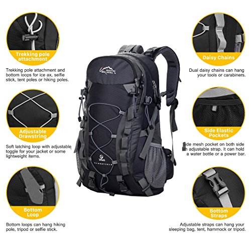 Camping Outdoor Hiking Climbing Rucksack Waterproof Bag Backpack 3 Trekking Verde Rain Cover 40L Mountaineering Traveling with Backpack IHTEwfqI