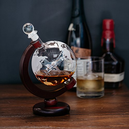 Large 50 Oz Handmade Vodka or Liquor Etched Globe Decanter Set with Wooden Stand and Bar Funnel (Wood Stand + Plane)