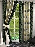 freehomestyle Polyester Blend 5x4 Feet Modern Window Curtain- Green