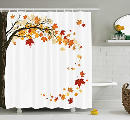 Ambesonne Fall Decorations Shower Curtain, Leaf Group Motion in Mother Earth Transition from Summer to Winter Decor, Fabric Bathroom Decor Set with Hooks, 70 Inches, Brown Orange]()