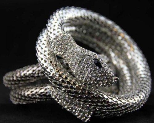 EOZY 1Pc Bracelet Rétro Comme un Serpent Elastique Cristaux Brilliant Argent