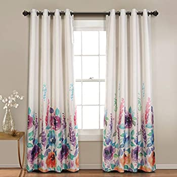 MYSKY HOME Floral Design Print Grommet top Thermal Insulated Faux Linen Room Darkening Curtains for Bedroom, 52 x 95 Inch, Purple, 1 Panel