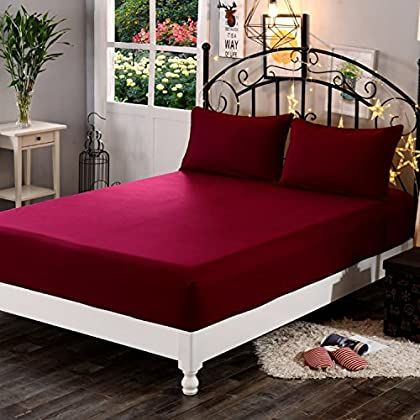 Dream Care™ Waterproof Terry Cotton Mattress Protector for King Size Bed – 72″x72″, Maroon