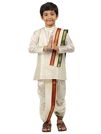 b2d789902 Amazon.com: Kids-Boys-Kurta-Dhoti-Set-Indian-Ethnic-Cultural-Fancy-Party- Dress-Cotton: Clothing