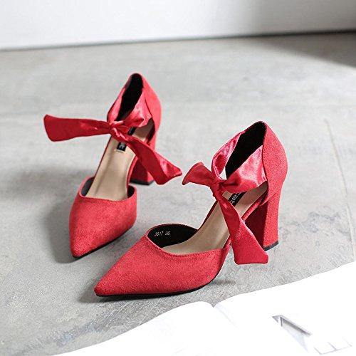 punto Bold sujeción zapatos Baotou salvaje sandalias de hollow 34 los solo tacón zapatos y rojo alto de r4IISxEq