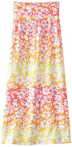 Speechless Big Girls' Floral Print Maxi Skirt, Coral Yellow, Medium