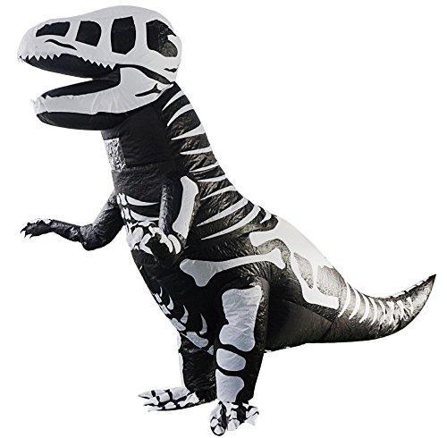 T-Rex Giant Skeleton Dinosaur Inflatable Costume Halloween Cosplay Blow up Outfit Fancy Dress with 1 Fan Blowers (Skeleton T-rex)