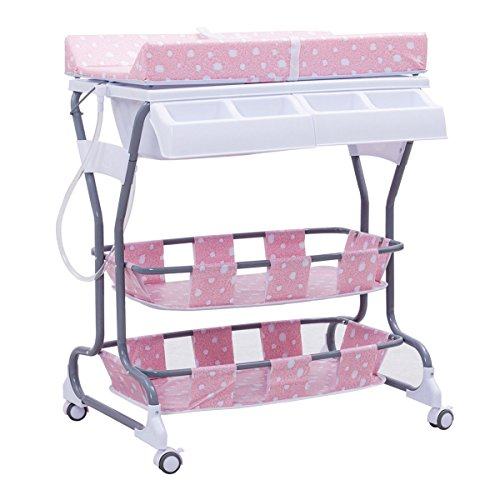 Costzon Baby Changing Table, Diaper Station Nursery Organizer, Infant Bath Table with Tube & Cushion (Pink) by Costzon