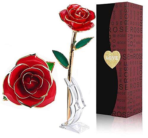 LOVLO Gold Dipped Rose 24k Red Gold Plated Rose - Everlasting Long Stem Real Rose Exquisite Holder, Romantic Gift for Valentine