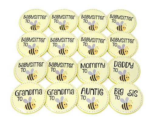 Godmother Pin (Baby Shower Pins For Mommy, Daddy, Grandma To Be & Family Gender Neutral Bee Theme Set of 16)