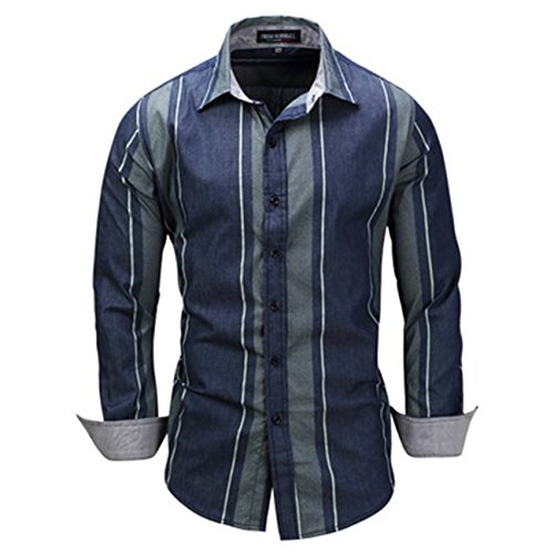 Men's Open-top Long-Sleeved Shirt Striped Denim Lapel Collar Shirts(XL,Dark Blue)