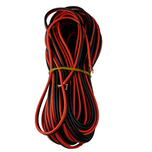 40FT 18 Gauge Single Color LED Strip Extension Cable Wire Cord 18AWG 2Pin 2 Color (40 Feet per Spool)