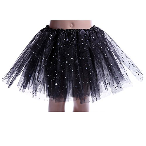 Kids Girls Professional 3 Layers Dance Tutu Tulle Skirt Princess Ballet Dance Dress with Sparkling Sequins (Little Stars Dance Costumes)