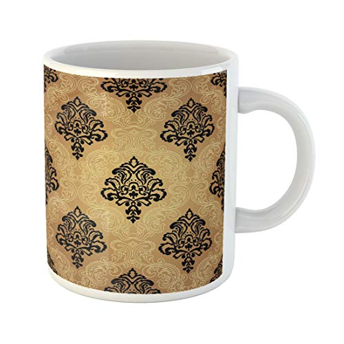(Semtomn Funny Coffee Mug Gold Seamless Pattern Background Damask Wallpaper Vector Illustration Black Brown 11 Oz Ceramic Coffee Mugs Tea Cup Best Gift Or Souvenir)