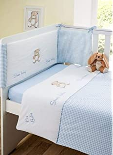 Coverlet /& Fitted Sheet Bizzi Growin Unisex Pastel Drifting Away 3 Piece Cot Bed Animal Bedding Set Includes Bumper