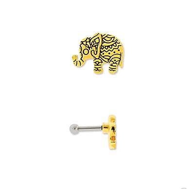 5537e023f Amazon.com: Ornate Elephant Cartilage Body Piercing Jewelry Earring Stud ( Gold): Jewelry