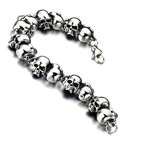 Mens Large Skull Link Bracelet in Stainless Steel Biker Gothic Style Silver Color High Polished