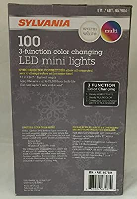 Sylvania Christmas Lights 3-function Color Changing Warm White Multi Color Connectable LED Mini Lights 100 count