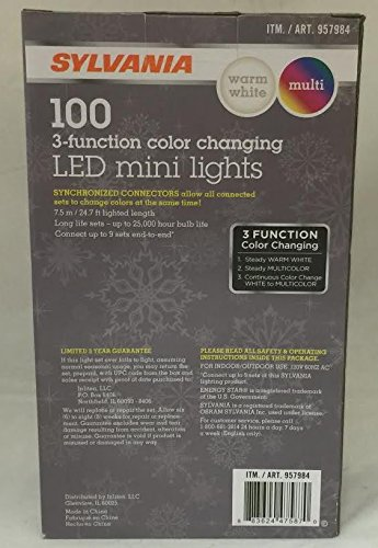 sylvania christmas lights 3 function color changing warm white multi color connectable led mini lights 100 count