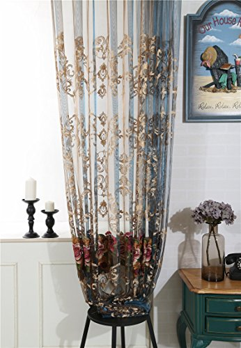 WPKIRA Window Treatments Upscale Italian Velvet Exquisite Luxurious Soluble Embroidered Rod Pocket Top Tulle Voile Sheer Curtains Transparent Sheer Curtain Drapes 1 Panel