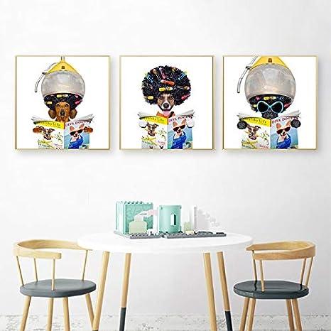 liwendi Peluquería Arte Lienzo Pintura Barbería Decoración De La Pared Diversión Mascota Perro Leyendo Periódicos Carteles E Impresiones 30X30 Cmx3