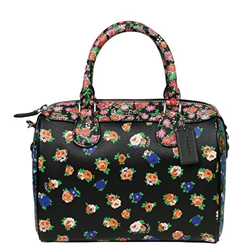 Coach Leather Handbag Bag Multicolor Floral black pink - Coach Multicolor Handbags