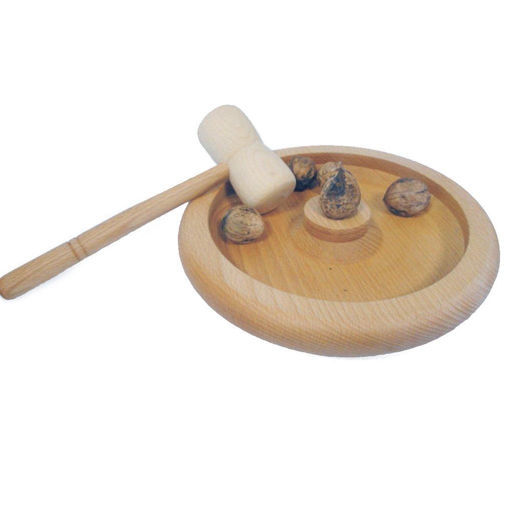 VASSOIO LEGNO PORTANOCI con martelletto schiaccianoci in legno di faggio Meeting
