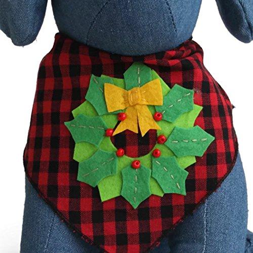 Tail Trends Christmas Dog Bandanas Christmas Wreath Designer Appliques 100% Cotton
