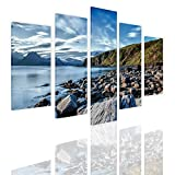 Alonline Art - A Lake On The Coast Split 5 Panels Framed Stretched Canvas (100% Cotton) Gallery Wrapped - Ready to Hang | 33''x22'' - 84x56cm | 5 Panels Split Framed Wall Art Framed Art for Home Decor