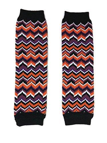 KWC - Halloween Black Purple Orange Chevron Baby Leg Warmer/ Leggings ()