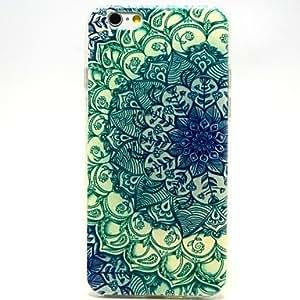 DD Green Mandala Flower Pattern Ultrathin TPU Soft Back Cover Case for iPhone 6 Plus