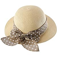 Connectyle Kids Summer Straw Hat Bowknot Beach Sun Protection Hats for Girls Beige