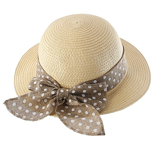 Connectyle Kids Classic Lovely Summer Straw Hat Cap Bowknot Beach Sun Protection Hats for Girls Beige ()