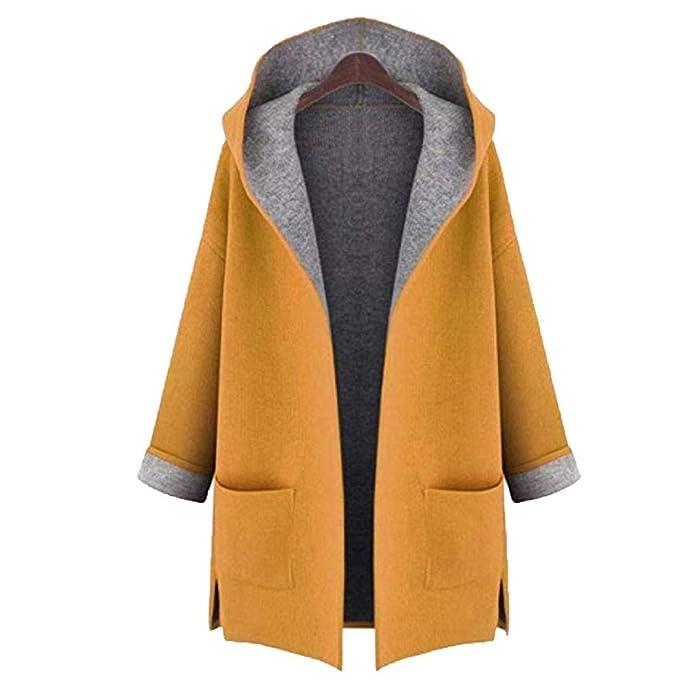 Vectry Rebajas Mujer Trenca De Color Liso Abrigo con Capucha Abrigo De Peluche Sintético La Chaqueta Larga Ropa De Abrigo