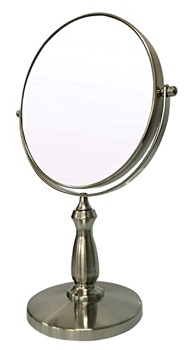 8 Updated Tabletop Double-Sided Swivel Vanity Makeup Mirror with 8x Magnification, Bathroom Mirror for Beauty Cosmetic, Nickel