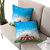 warmfamily Circuscouch Pillow coversTravelling Circus Tent with Clouds Butterflies and Clear Sky Festival