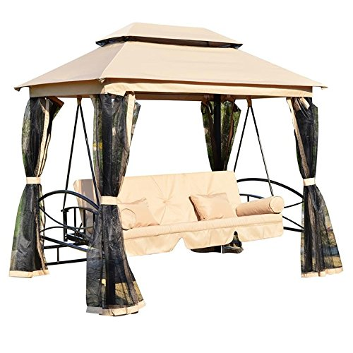 Outdoor Patio Daybed Canopy 3 Person Gazebo Swing w/ Mesh Walls With Ebook (That Into Beds Turn Sale Couches For)