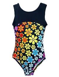 Happy Cherry Girls Gymnastics Leotard Sleeveless Bodysuit Floral Athletic Unitard