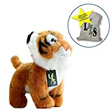 LightningStore Adorable Cute Baby Standing Tiger Cub Doll Realistic Looking Stuffed Animal Plush Toys Plushie Children's Gifts Animals + Toy Organizer Bag Bundle