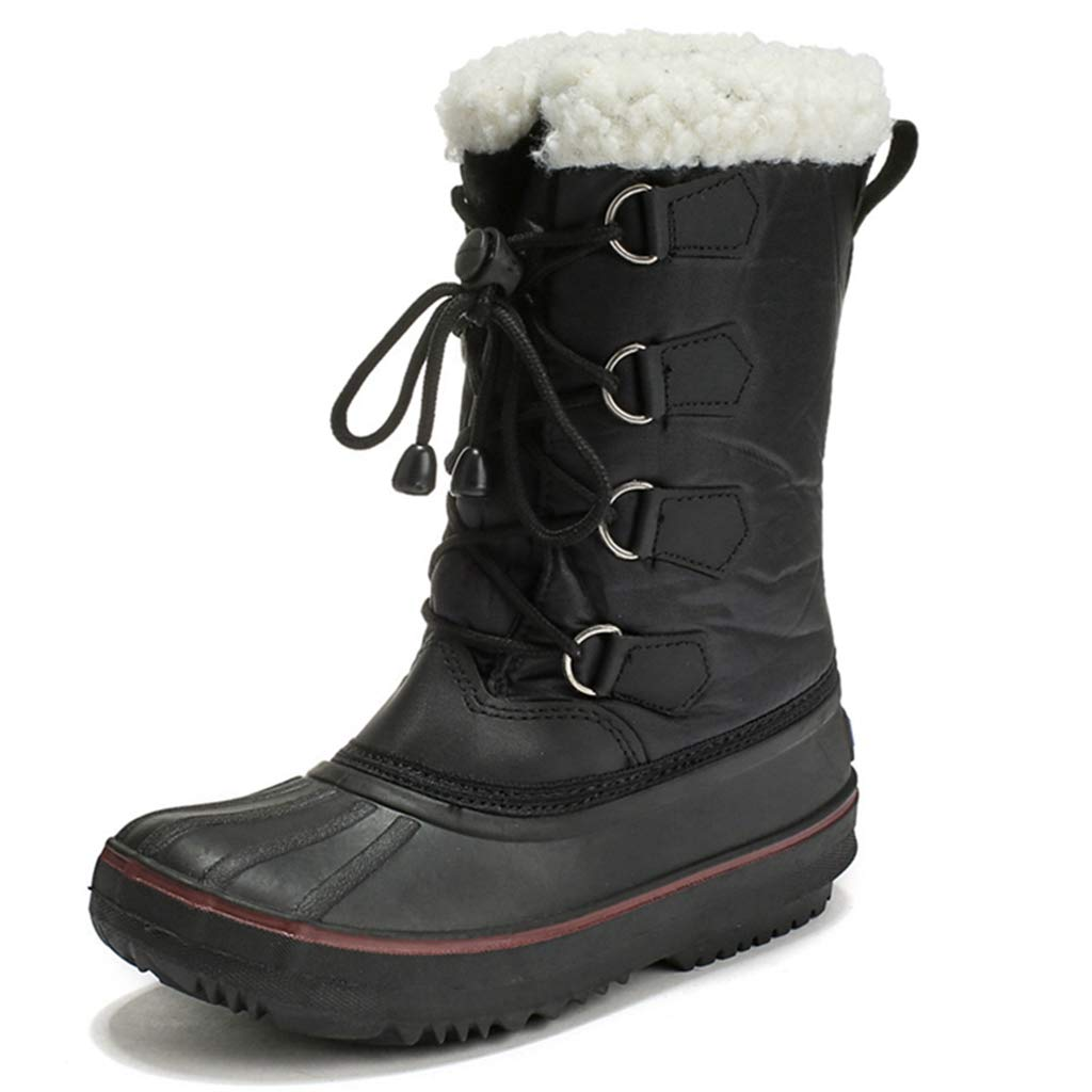 Boys Girls Insulated Waterproof Snow Boots Kids Warm Faux Fur Boots Winter Cold Weather Outdoor Booties