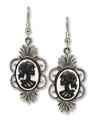 Gothic Lolita Skull Cameo Dangle Earrings Black on White Silver Finish Frame