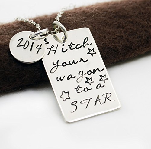 Hitch Your Wagon to a Star Graduation Necklace - Class of 2016 School Spirit Jewelry - High School College Tech School Graduate Gift - Congrats Grads