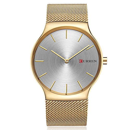 Men Quartz Watches, CURREN Analog Wristwatch with Stainless Steel Mesh Band Ultra Thin Dial Luxury Business and Leisure Dual-use Watch for Men 8256 (Gold Gray)